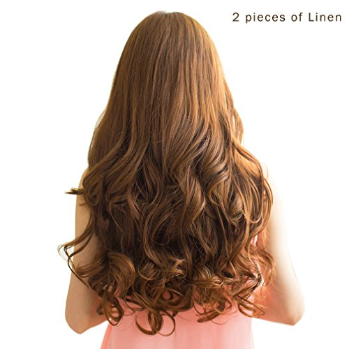 "REECHO 20"" 1-Pack 3/4 Full Head Curly Wave Clips in on Synthetic Hair Extensions Hairpieces for Women 5 Clips 4.6 Oz per Piece - Medium Warm Brown from REECHO"