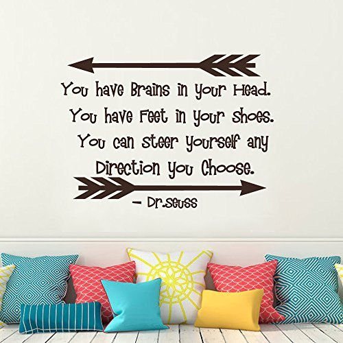Wall Decal Decor Dr Seuss Wall Decal Quotes - You Have Brains In Your Head Vnyl Lettering - Kids Room Children Room Playroom Vinyl Wall Decal Sticker(Black, 16h x22w) 16h x22w) Bobbit