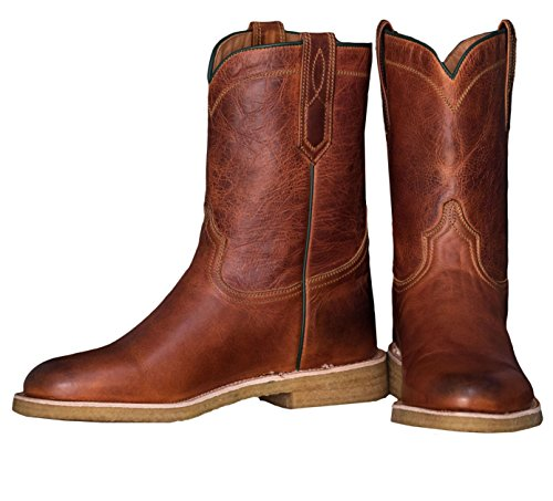 Ranch Road Boots Men's Calhoun County Cowboy Boot with Crepe Sole and Roper Heel Brown (7) - 10' Ropers Leather