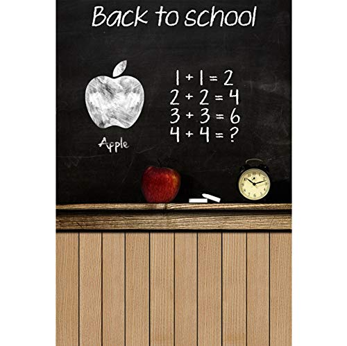 Baocicco 3x5ft Back to School Backdrop Chalk Letters Apple Alarm Clock Blackboard Photography Background Formula Wooden Wall Wallpaper New Term School Opening Day Children Students Portrait Prop