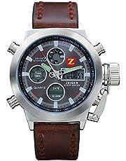 KZKR Herren Armbanduhr LED Digital und Analog Doppel Anzeige Quarz Uhr Leder Armband Braun Datum Tag Licht Wecker W297