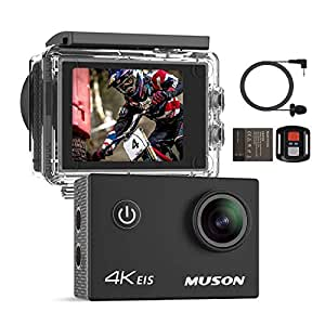 Muson Action Camera 4k 30M Deep Waterproof Underwater Camera Ultra HD WiFi, 2.0-inch LCD Monitor 1050mAh Battery HDMI Output Motion Camera for Bicycle/Motorcycle Sports Camera