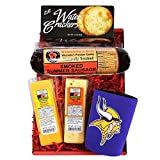 Vikings Snacker Gift Basket - features Smoked Summer Sausages, Cheeses, Crackers and a Vikings Coozie, NFL Gift Basket perfect for the True Minnesota Vikings Fan.