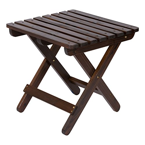 Shine Company Adirondack Square Folding Table, Burnt Brown