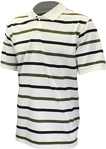 Tall Short Sleeve Casual Striped Polo Rugby Style Shirt 9984 White Medium ()