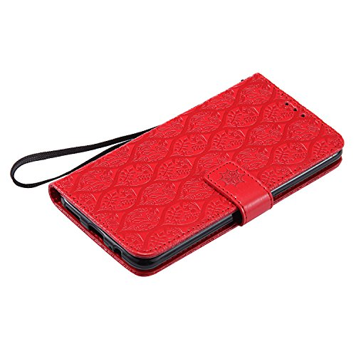 Funda OnePlus 5, SsHhUu Funda PU Piel Genuino Carcasa en Folio [Ranuras para Tarjetas] [Cierre Magnetico] con Acollador para OnePlus 5 (5.5) - Púrpura Rojo
