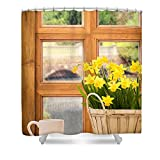 Pixels Shower Curtain (74'' x 71'') ''Spring Showers''