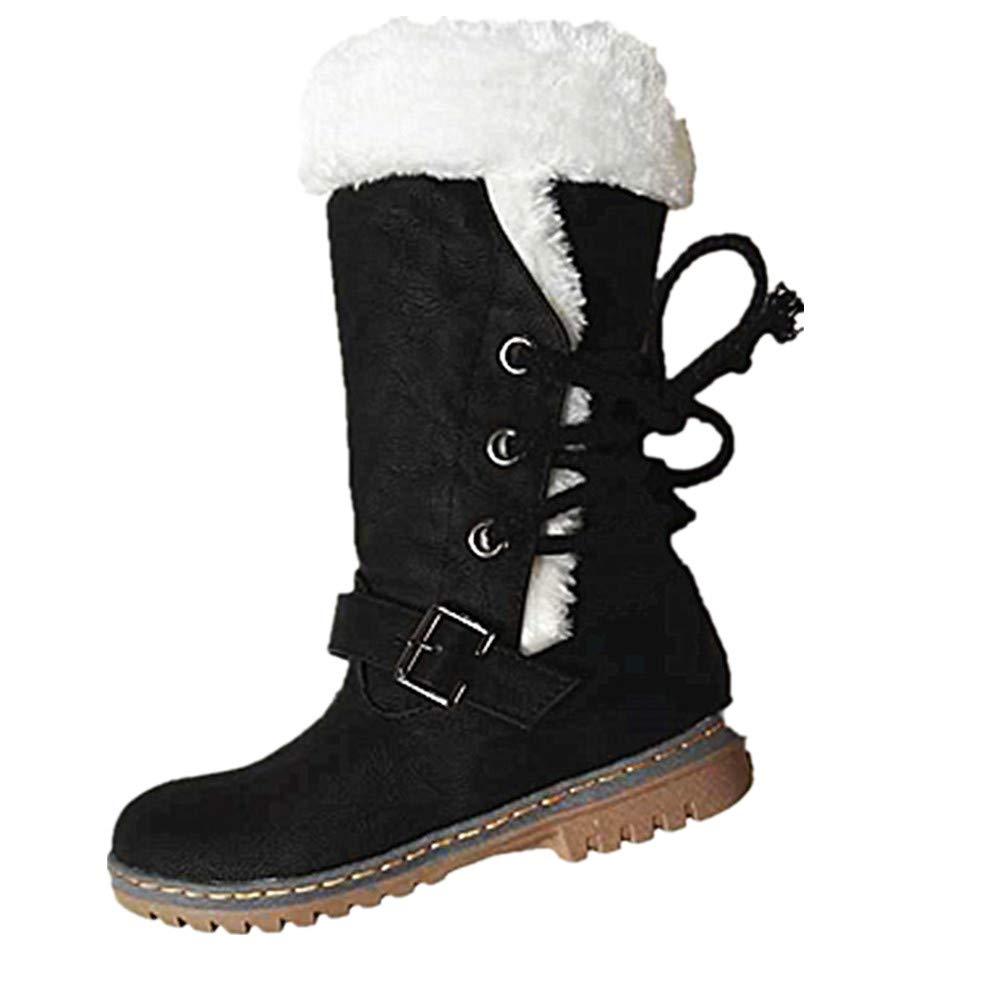 Femme Bottes de Lacets Neige Chaud Hiver Bas Lacet Noir Rond Haut Bottes Hiver Boots Mode Courts Doublure Plate Lacets Chaussures Noir Marron Beige 35-46 Noir 20bf7be - automatisms.space