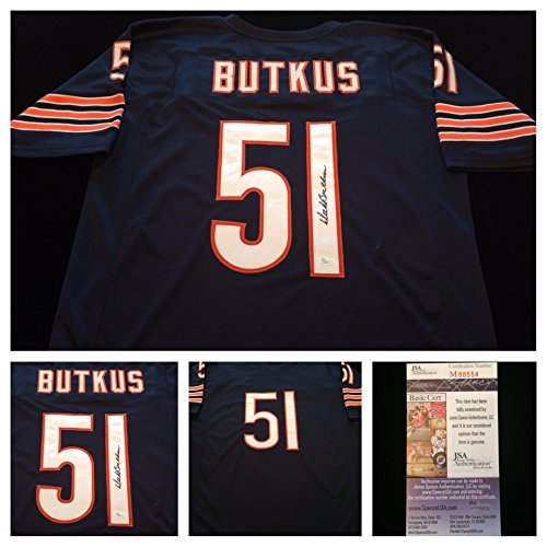 Dick Butkus Chicago Bears Signed Autograph Blue Jersey JSA (Dick Butkus Signed Photo)