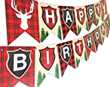 Woodland Reindeer Happy Birthday Banner Pennant Camping Party Banner...