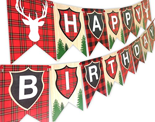 Woodland Reindeer Happy Birthday Banner Pennant Camping Party Banner by POP parties by POP parties