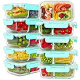 Bayco 10 Pack Glass Meal Prep Containers 2 Compartment, Glass Food Storage Containers with Lids, Airtight Glass Lunch Bento Boxes, BPA-Free & Leak Proof (10 lids & 10 Containers) (Color: Blue)