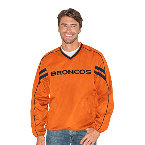 G-III Sports NFL Denver Broncos Adult Men Red Zone V-Neck Pullover, 5X, Orange from G-III Sports