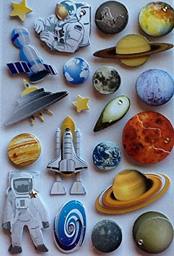 21-hand-made-dimensional-layered-stickers-astronaut-space-shuttle-planets-solar-system-satellite-rai