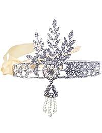 Ever Faith Bridal 1920's Style Art Deco Movie Inspired Leaf Simulated Pearl Headband Hair Tiara
