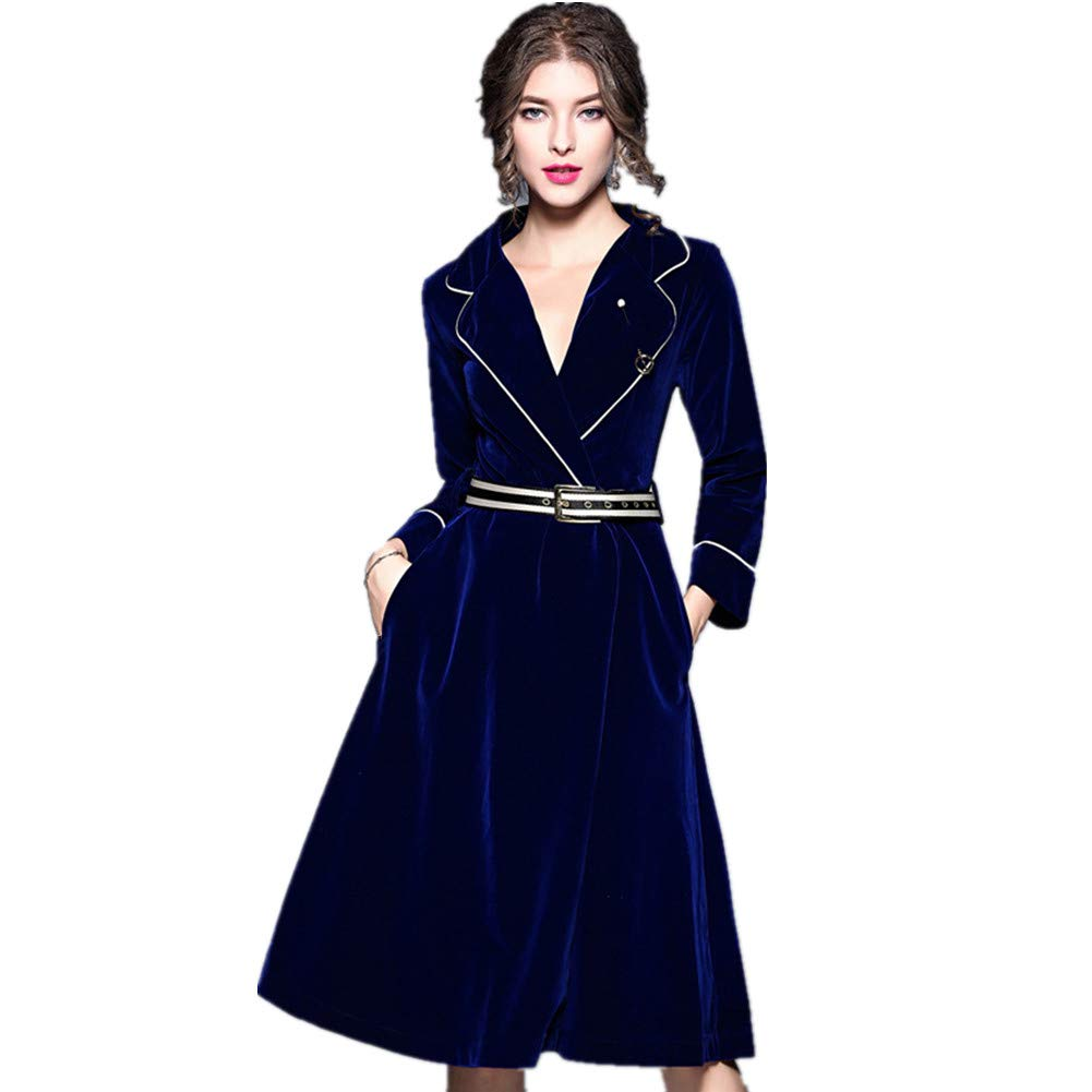 Deep bluee NewBesteyle Womens Suit Lapel Long Sleeve Velvet Trench Coat Midi Dress with Belt