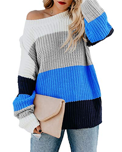 - HZSONNE Women's Casual Color Block Chunky Stripe Cable Knitted Crew Neck Loose Pullover Sweaters Jumper Tops Blue