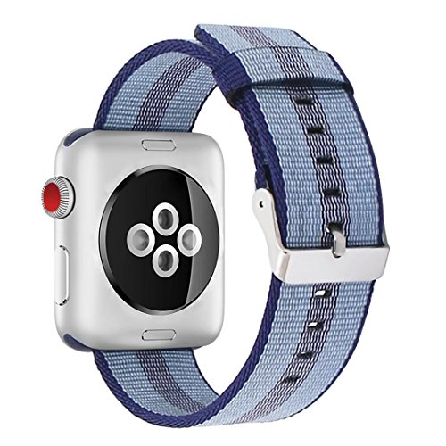 INTENY Newest Woven Nylon Fabric Wrist Strap Replacement Band with Classic Square Stainless Steel Buckle Compatible for Apple iWatch Series 1/2/3,Sport & Edition,38mm,Midnight Blue Stripe