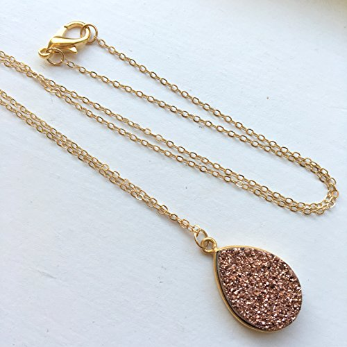 Pink Druzy Necklace Rose Gold Drusy Necklace Druzy Jewelry 14k Gold Filled Chain Blush Pink Rose Gold -