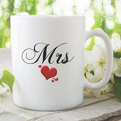 Amazon Com Mrs Mug Wedding Gift Bride Present Gift For Her Best Friend Anniversary Gift Wedding Marriage Birthday Gift Ideas For Wife Hen Do Kitchen Dining
