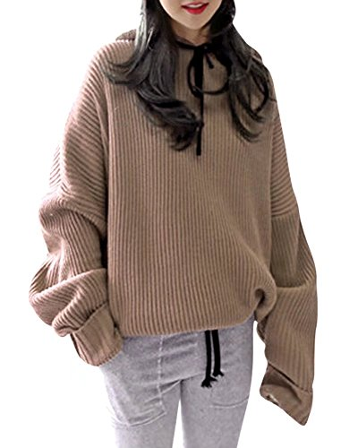 Women Hooded Hoodie Oversized Baggy Loose Jumper Pullover Blouse Sweater Tops, Khaki, One size fits S-Large