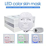 3D Phototherapy Trichromatic Color LED Mask Instrument Cold Light LED electronic Mask Instrument Professional Beauty Rejuvenation Instrument Therapy Facial Skin Care Mask Device (3 Color, White)