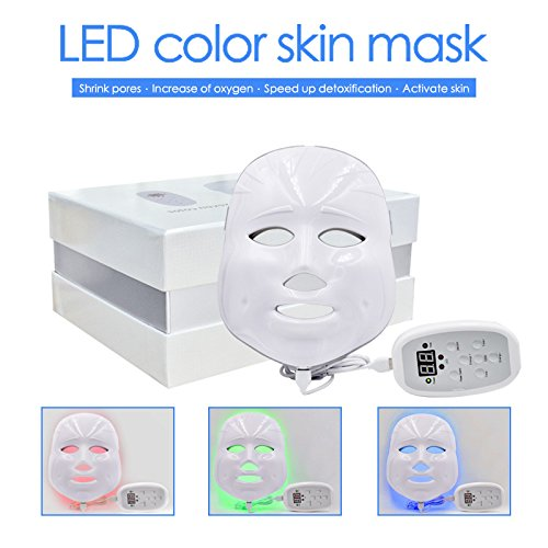 3D Phototherapy Trichromatic Color LED Mask Instrument Cold Light LED electronic Mask Instrument Professional Beauty Rejuvenation Instrument Therapy Facial Skin Care Mask Device (3 Color, White) by Yue live (Image #9)