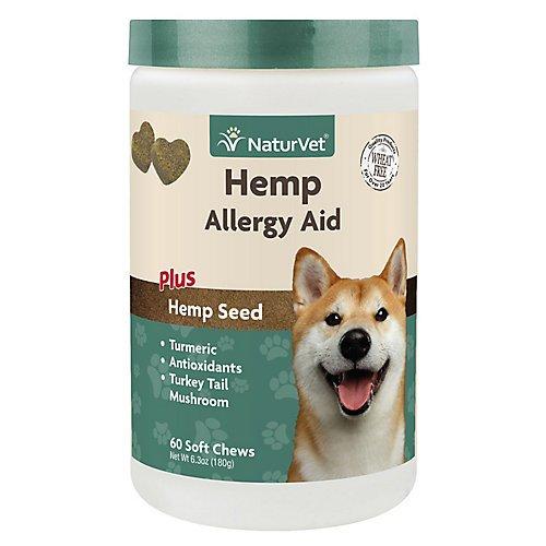 NaturVet Hemp Allergy Aid Supplement for Dogs, Hemp Seed, Antioxidants, Omegas, Dha & Epa for Healthy Skin & Respiratory Health,