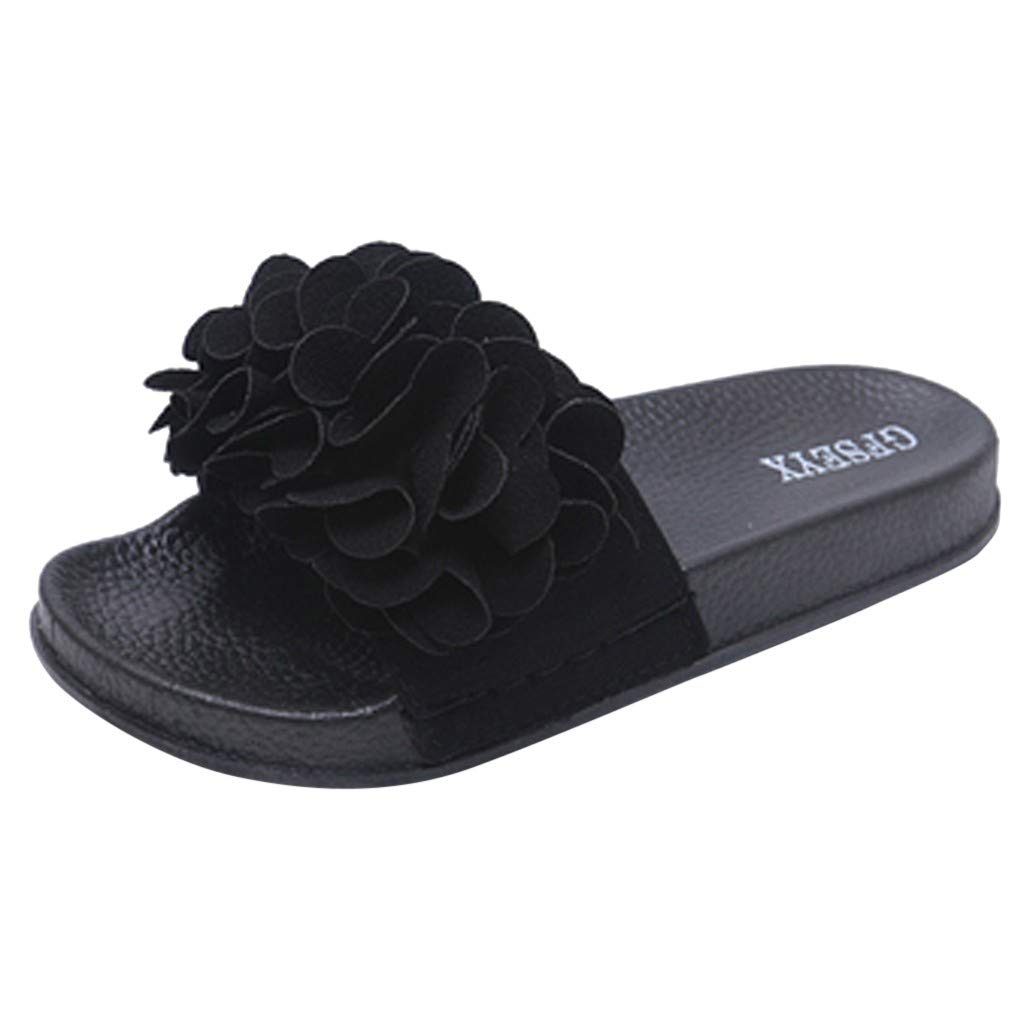 Women Casual Comfortable Home Slipper Summer Fashion Big Flower Butterfly-Knot Outdoor Slippers Beach Shoes (Black, 8.5)