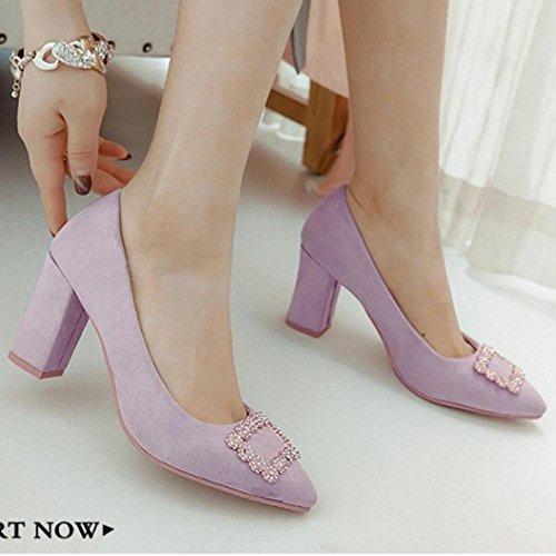 Purple con Moda TAOFFEN Donna Tacco Vestito Scarpe xYSgqIp