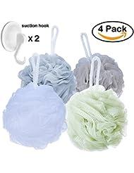 Shower Sponge Loofahs Bath Poufs Large with Bath Suction Hooks (60g/pcs)- Pack of 4