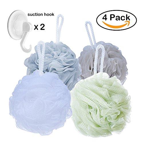 Shower Sponge Loofahs Bath Poufs Large with Bath Suction Hooks (60g/pcs)- Pack of (Body Pouf)