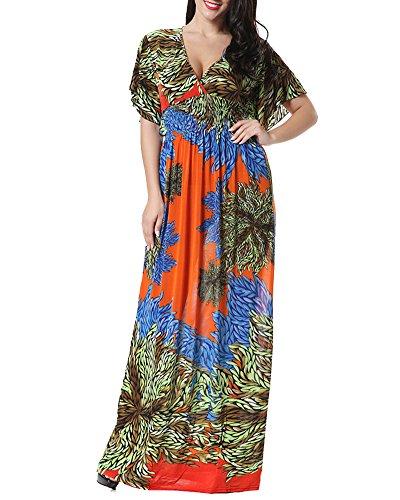 Mujer Vestido Largo Estampado Floral Manga Corta Gasa Vestido Maxi Naranja