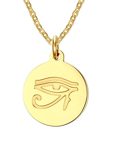 Vnox stainless steel 18k gold plated ancient egyptian eye of horus vnox stainless steel 18k gold plated ancient egyptian eye of horus pendant necklacefree chain mozeypictures Image collections