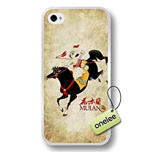Disney Cartoon Mulan Soft Rubber(TPU) Phone Case & Cover for iPhone 4/4s - White