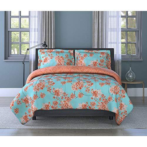 2 Piece Adorable Victorian Style Charming Floral Bedding, Splendid Cherry Blossom Design Orange Blue Twin Comforter Set Vibrant Watercolor Garden Shabby Chic Bedding Set Lightweight Reversible Paisley
