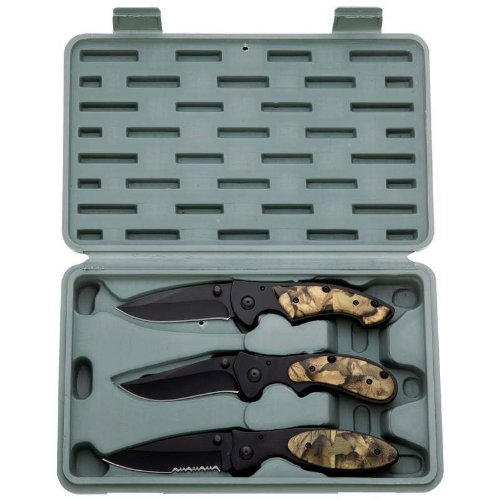 Opening Liner Lock Knife Set (Maxam® 3pc Liner Lock Knife Set)