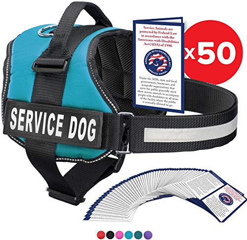 Service Dog Vest With Hook and Loop Straps and Handle - Harness is Available in 8 Sizes From XXXS to XXL - Service Dog Harness Features Reflective Patch and Comfortable Mesh Design (Blue, XXS)