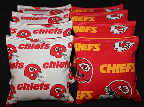 CORNHOLE BEAN BAGS w KANSAS CITY CHIEFS fabric on both sides of logo bags NEW!!