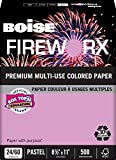 BOISE FIREWORX PREMIUM MULTI-USE COLORED PAPER, 8 1/2'' x 11'', Letter, Echo Orchid, 24 lb., 5000 Sheets/Carton, 40 Cartons/Pallet