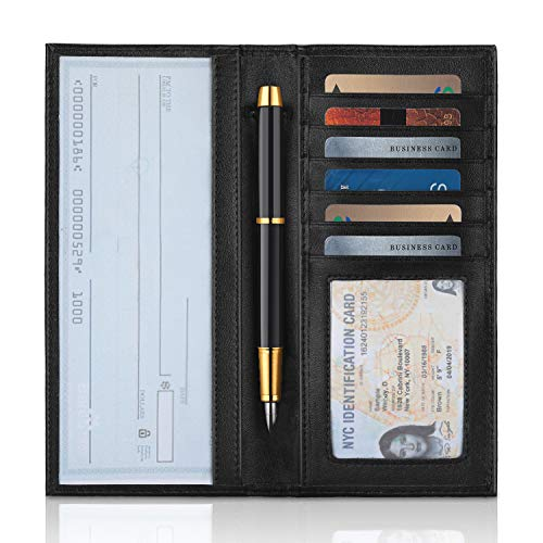 YOOMALL Leather Checkbook Cover RFID Blocking Slim Wallet Credit Card Holder by YOOMALL