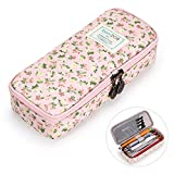 BTSKY Cute Pencil Case - High Capacity Floral Pencil Pouch Stationery Organizer Multifunction Cosmetic Makeup Bag, Perfect Holder for Pencils and Pens (Pink)