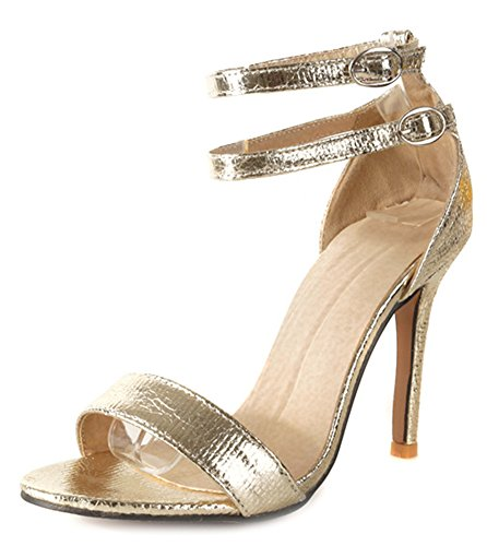 Aisun Women's Sexy Two Buckles Ankle Strap Sandals Gold