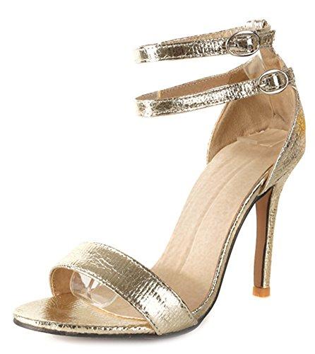 Schnallen Zwei Frauen Sexy Sandalen Knöchelriemen Gold Aisun wqTxECx