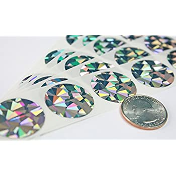 """1"""" Silver Hologram Round Scratch Off Stickers Label, Reflects multi colored in natural light, Perfect DIY,Pack of 100 My Scratch Offs"""
