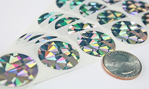 """UPC 720825732275, 1"""" Silver Hologram Round Scratch Off Label Sticker, Reflects multi colored in natural light, Machine Compatible Roll of 500, My Scratch Offs"""