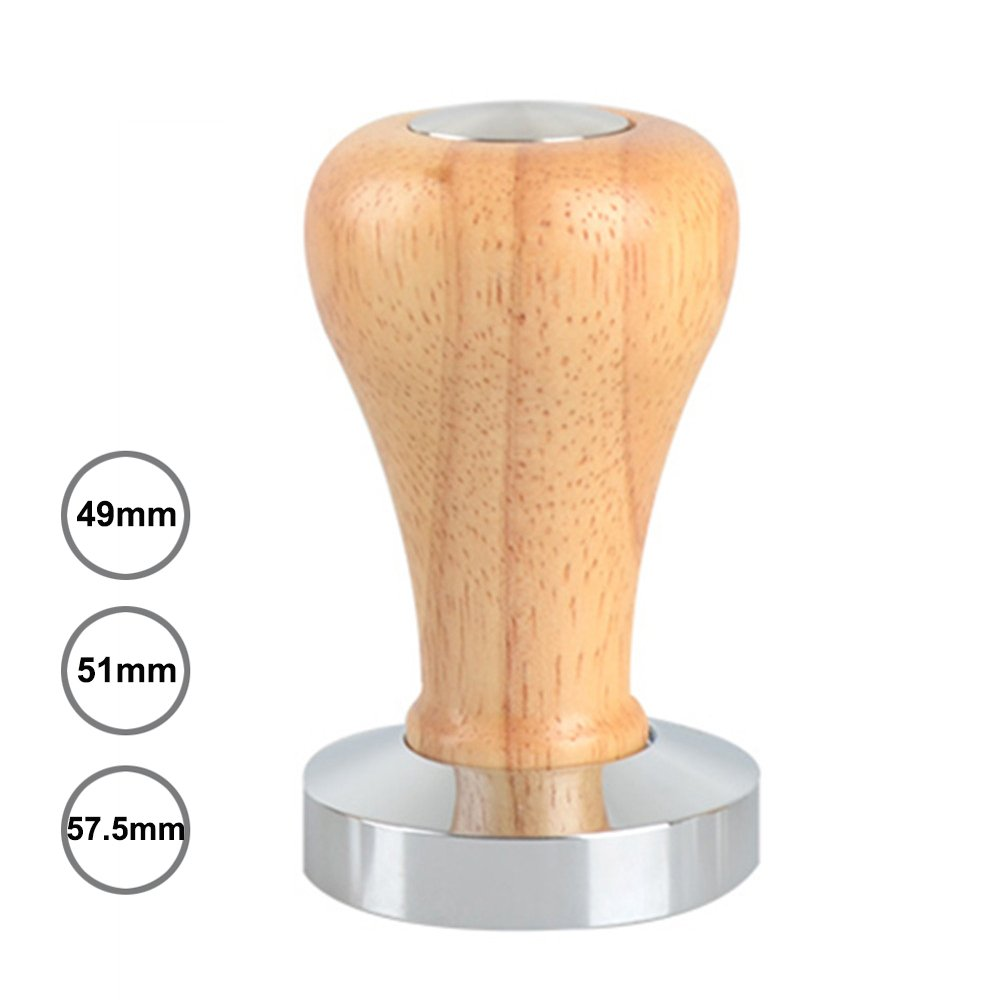 Espresso Tamper, Wooden Coffee Tamper for Barista Flat Base Coffee Bean Press Coffee Grind Pressing Solid Wooden Handle and Stainless Steel Base (49mm)