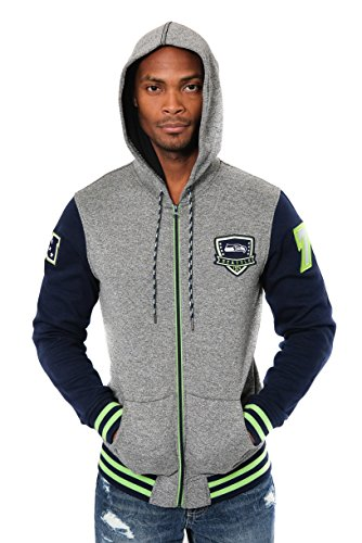 NFL Men's Seattle Seahawks Full Zip Fleece Hoodie Letterman Varsity Jacket, Small, Navy