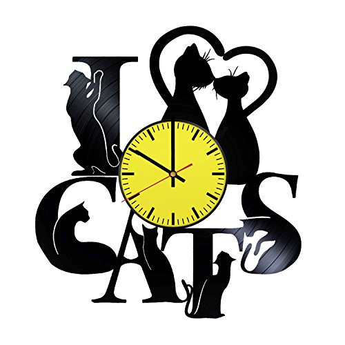 Funny Cats Vinyl Record Wall Clock - Get unique bedroom wall decor - Gift ideas children, teens - Pets Unique Modern Art - Himalayan Black Cat