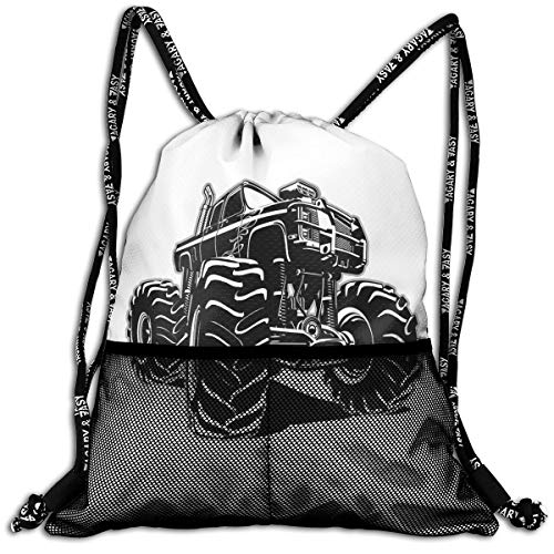 Drawstring Backpacks Bags,Modified Automobile Monochrome Sketch Pattern Monster Pickup Truck Off Road Vehicle,Adjustable